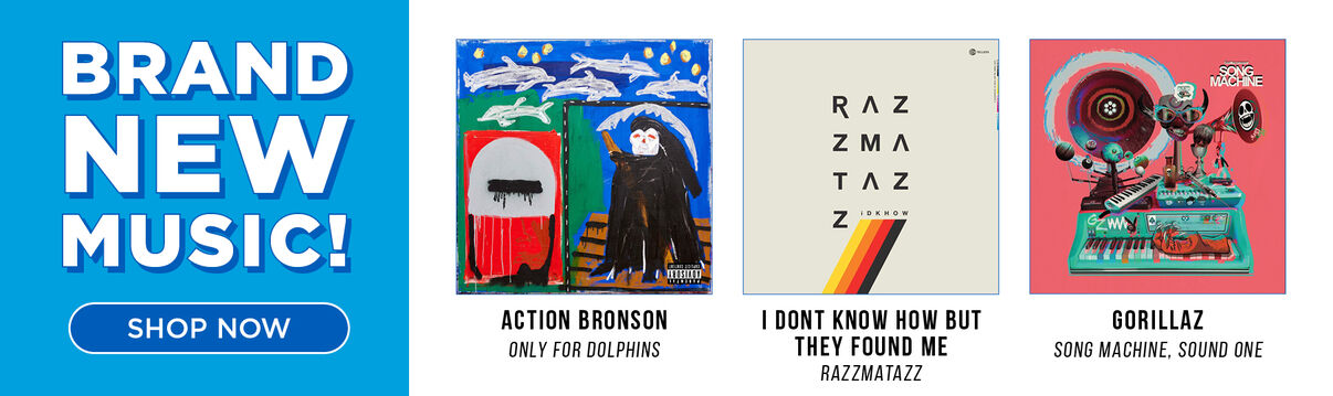 New Music Releases: Featuring:  Action Bronson/Only For Dolphins; I Dont Know How But They Found Me/Razzmatazz; Gorillaz/Song Machine, Sound One & More! Shop Now!