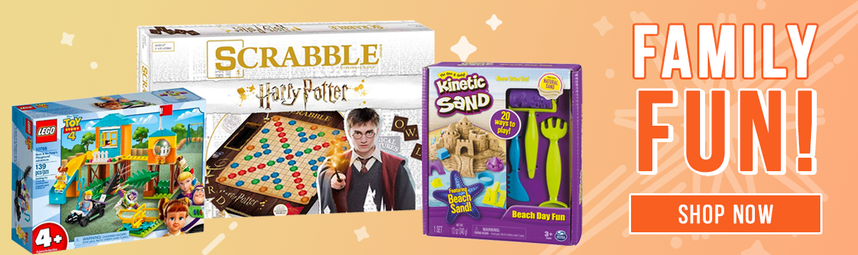 Family Fun! Legos, board games, and kinetic sand. Shop Now!