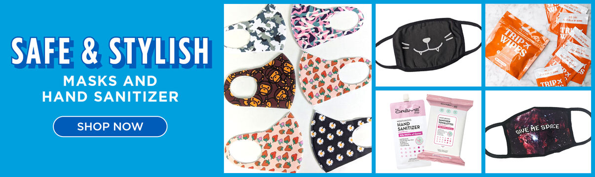 Safe & Stylish.  Masks and Hand Sanitizers.  Shop Now.
